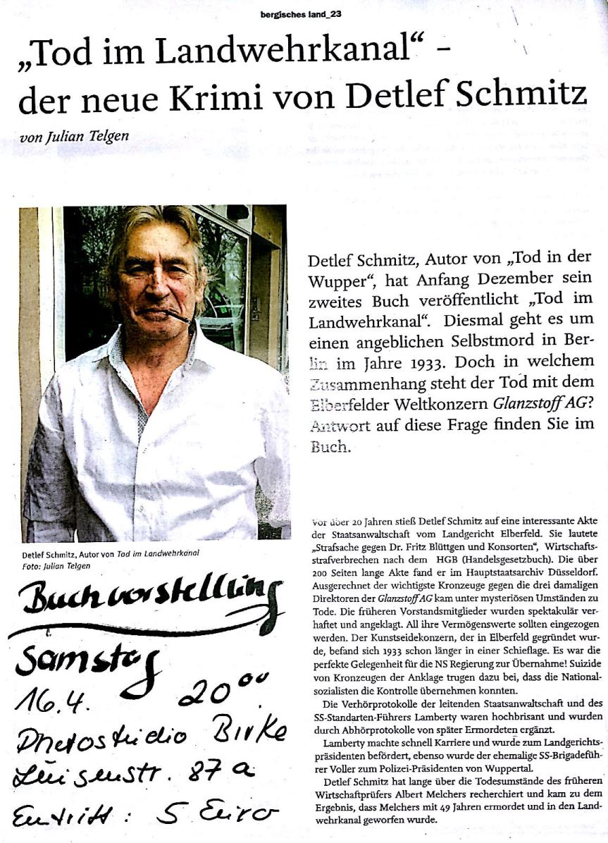 Tod im Landwehrkanal Lesung + Buchvorstellung
